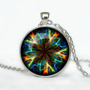 Silver Fractal Star Flower Glass Cabochon Necklace